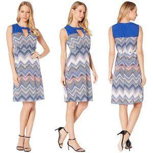 NWT - BCBGMAXAZRIA Woven Print Dress Mini Zig Zag